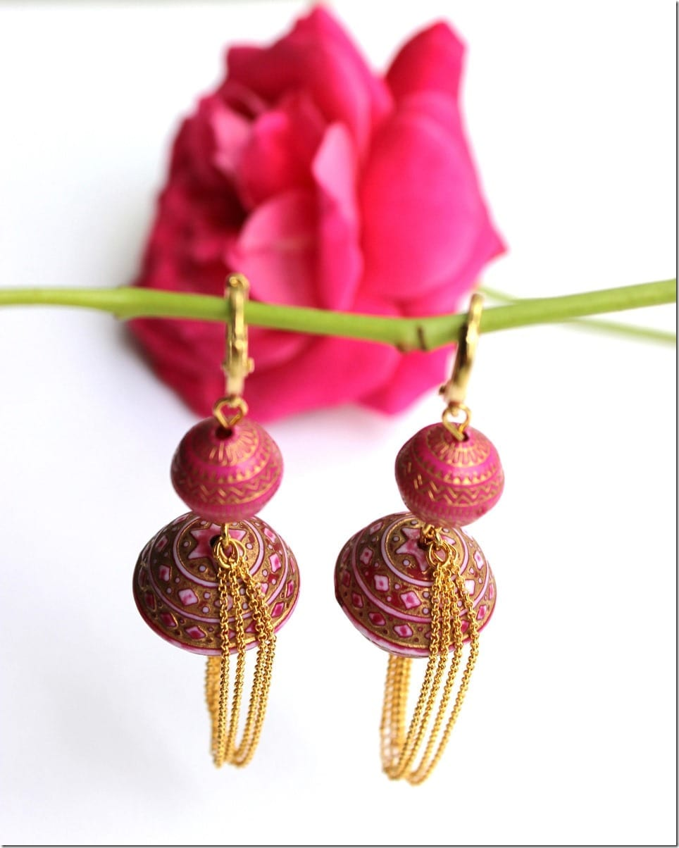 bollywood-inspired-hot-pink-gold-earrings