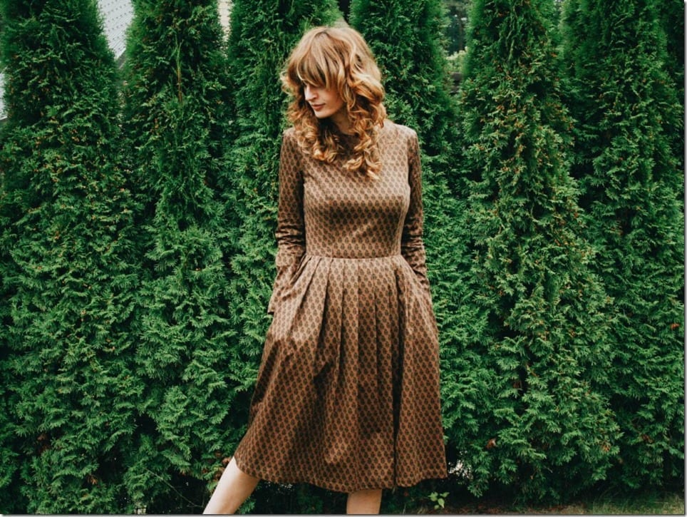 brown-floral-midi-dress
