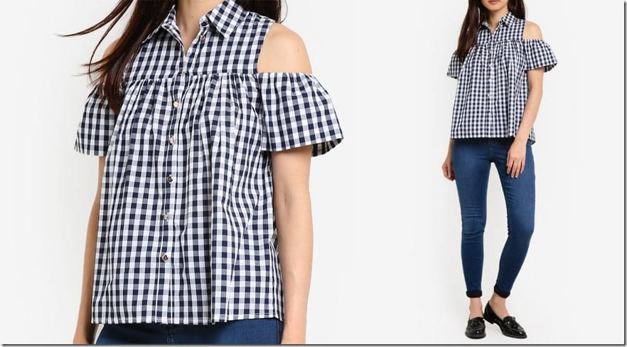 cold-shoulder-gingham-shirt