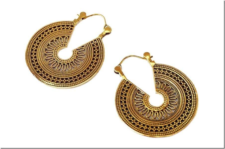 Filigree Tribal Hoop Earrings
