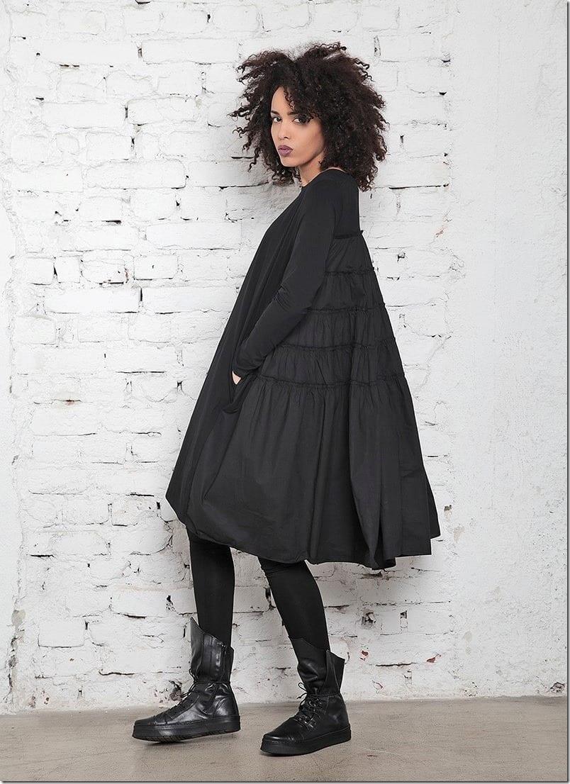 loose-swing-black-midi-dress