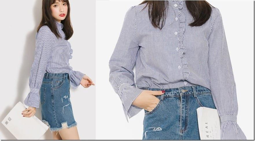 oriental-ruffle-neck-stripe-shirt