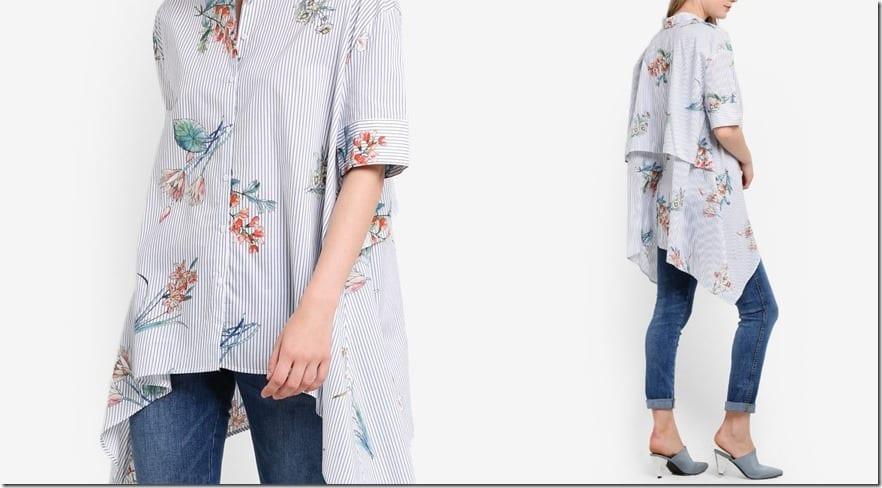 oversize-asymmetric-hem-layered-stripe-shirt