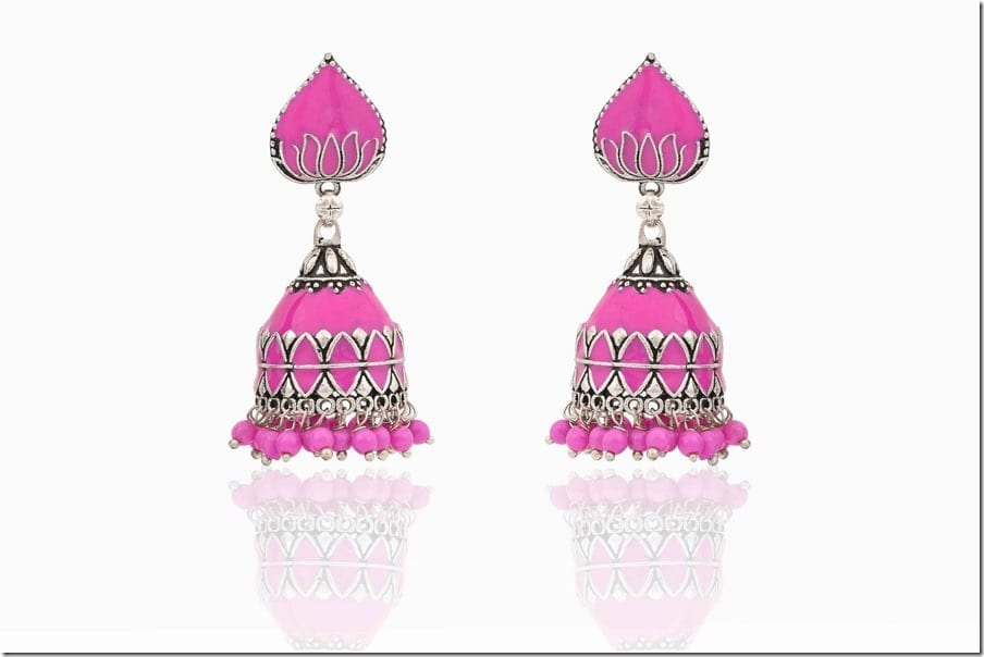 pink-indian-jhumka-earrings