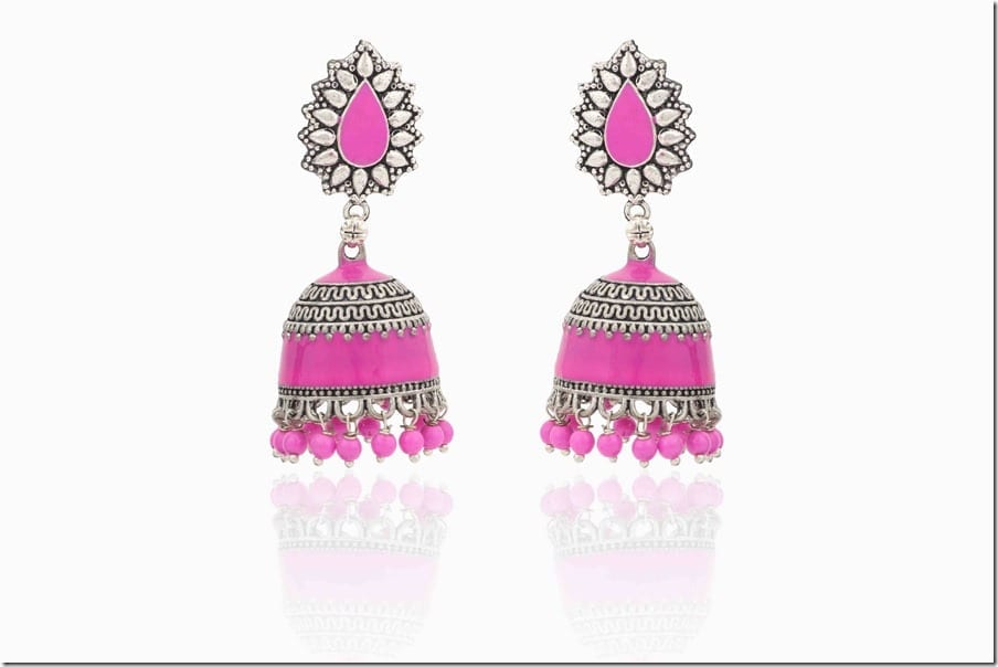pink-traditional-jhumka-earrings