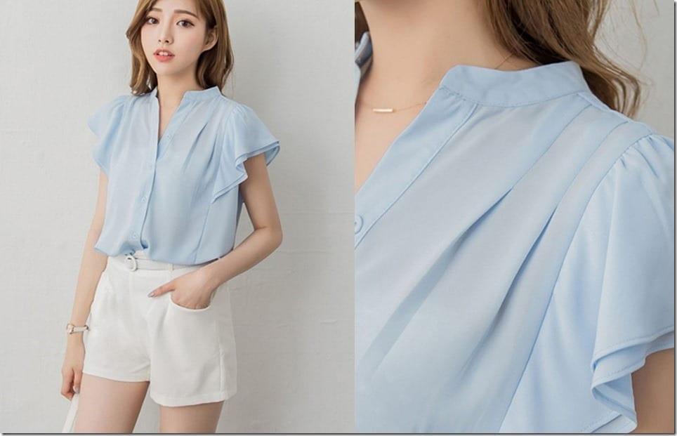 Short Flutter Sleeve Blouse Style Ideas