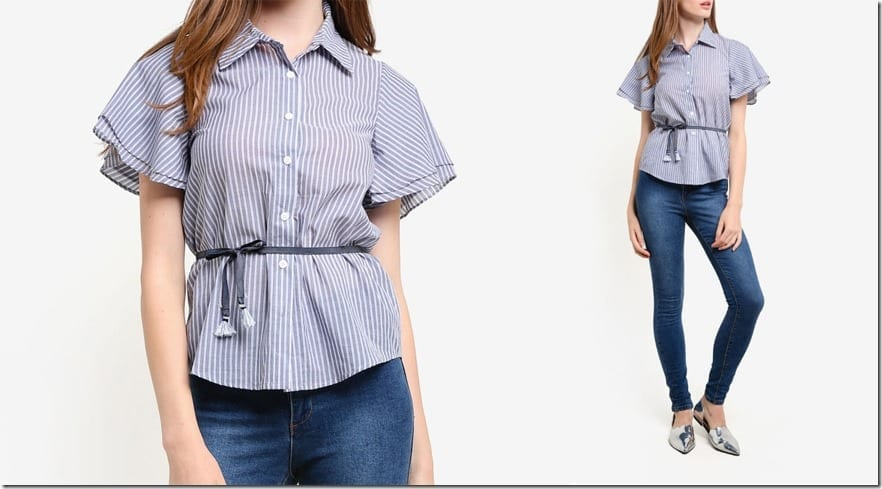 short-ruffle-sleeve-stripe-shirt