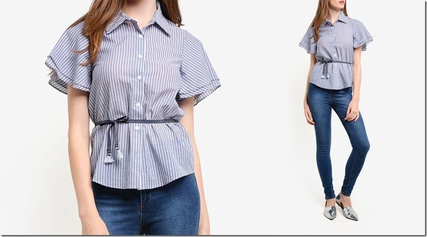 short-ruffle-sleeve-stripe-shirt