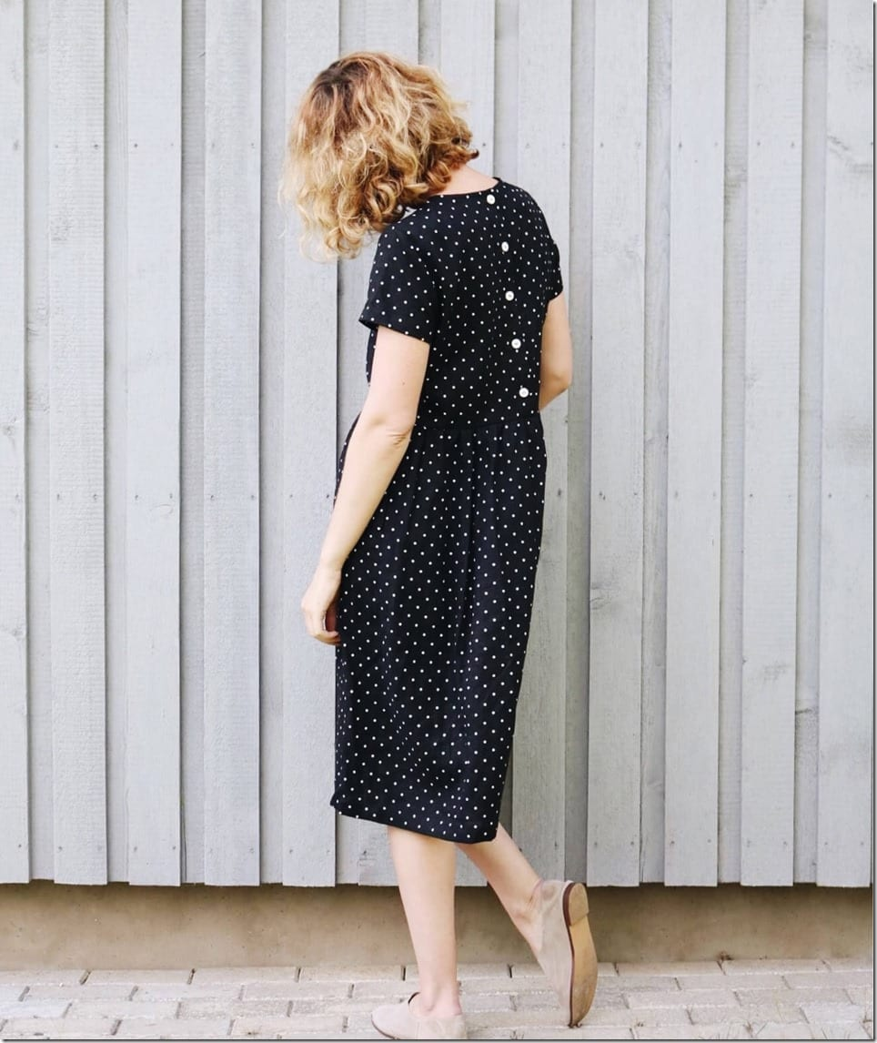 short-sleeve-polka-dot-midi-dress