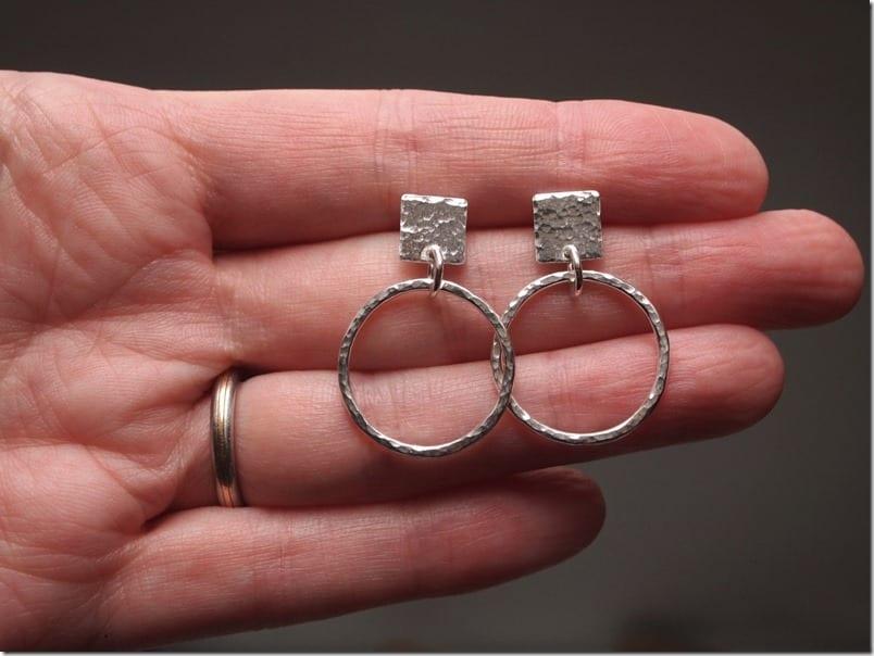 square-stud-hoop-earrings