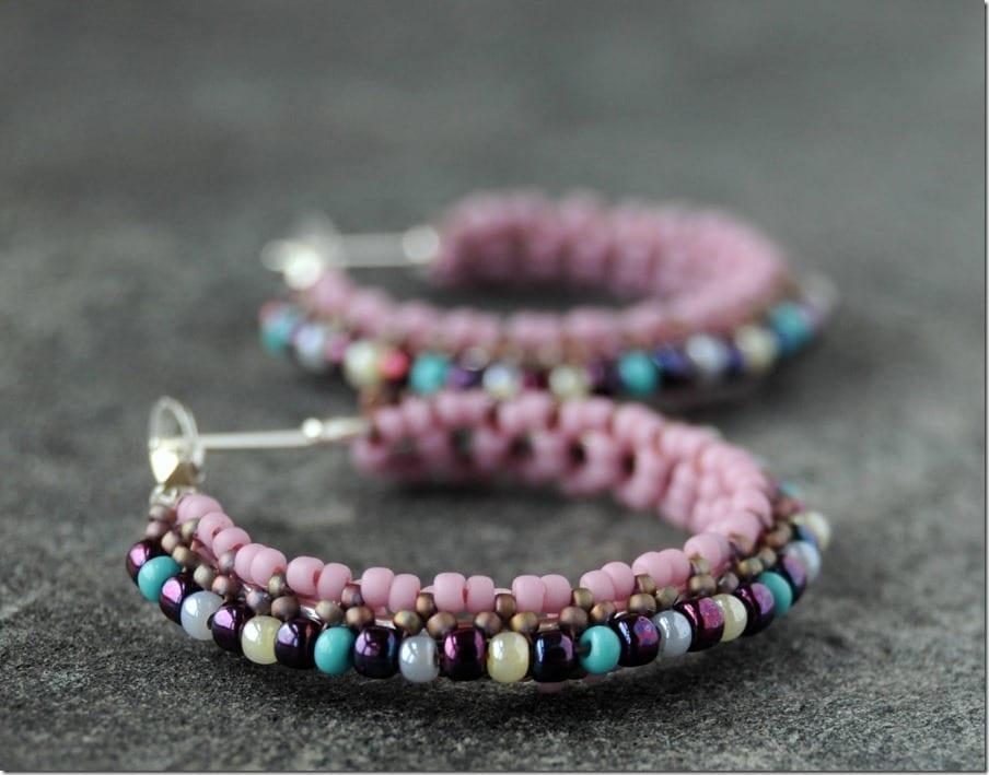 statement-pink-beaded-hoop-earrings