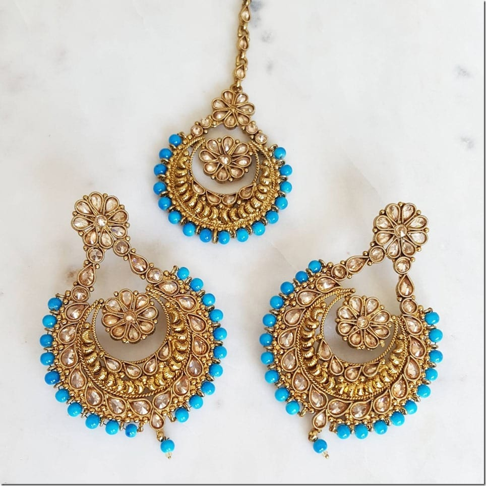 turquoise-blue-gold-earring-tikka-set