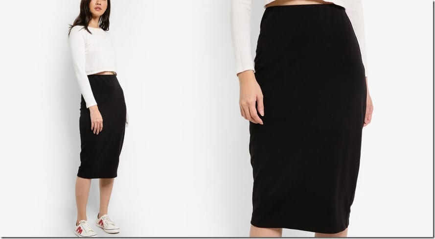 black-basic-bodycon-midi-skirt