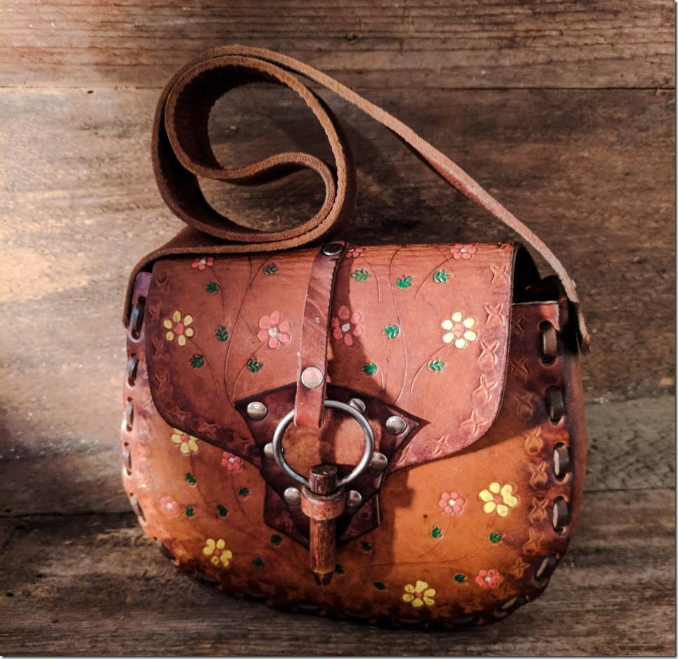 Vintage Boho Brown Leather Bag Styles With Floral Work