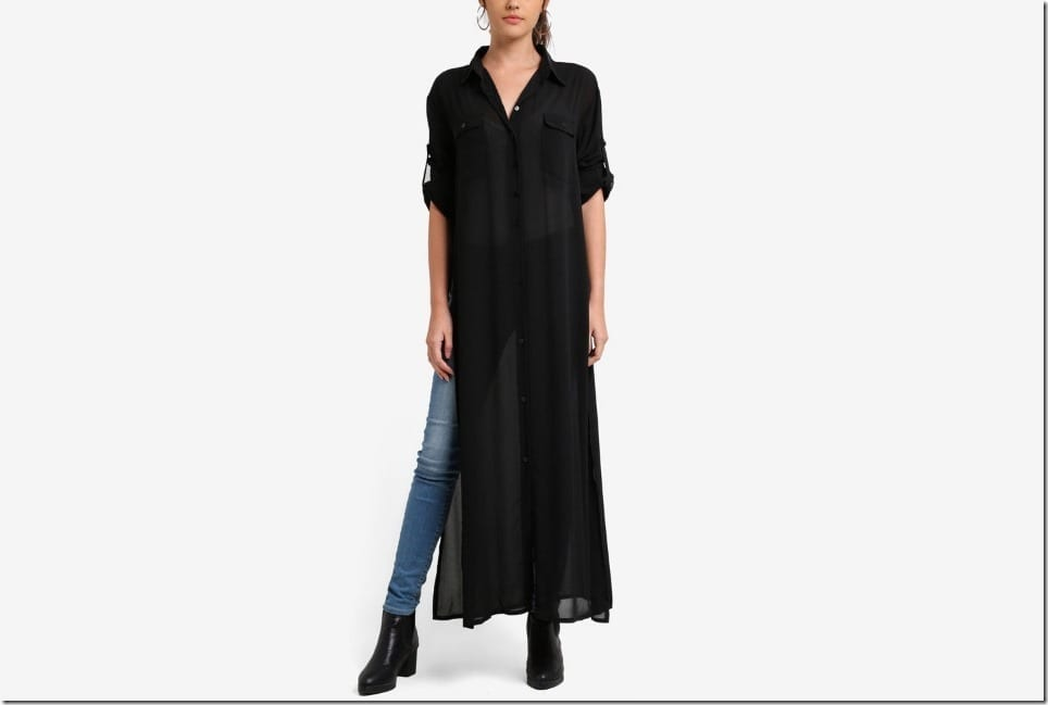 Add Flow To Your OOTD With This Maxi Sheer Shirt Style