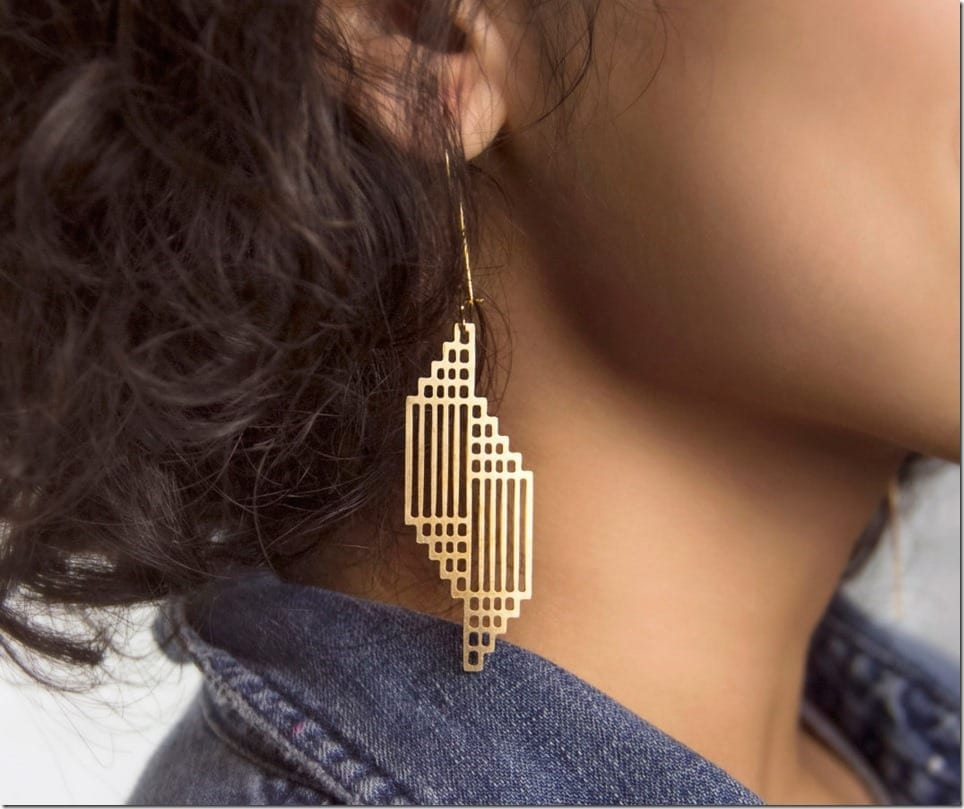 Gold Hoop Geometric Style Earrings