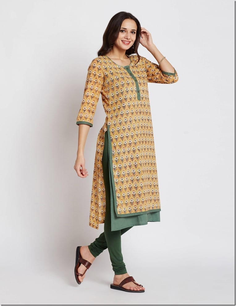 green-contrast-print-long-kurta