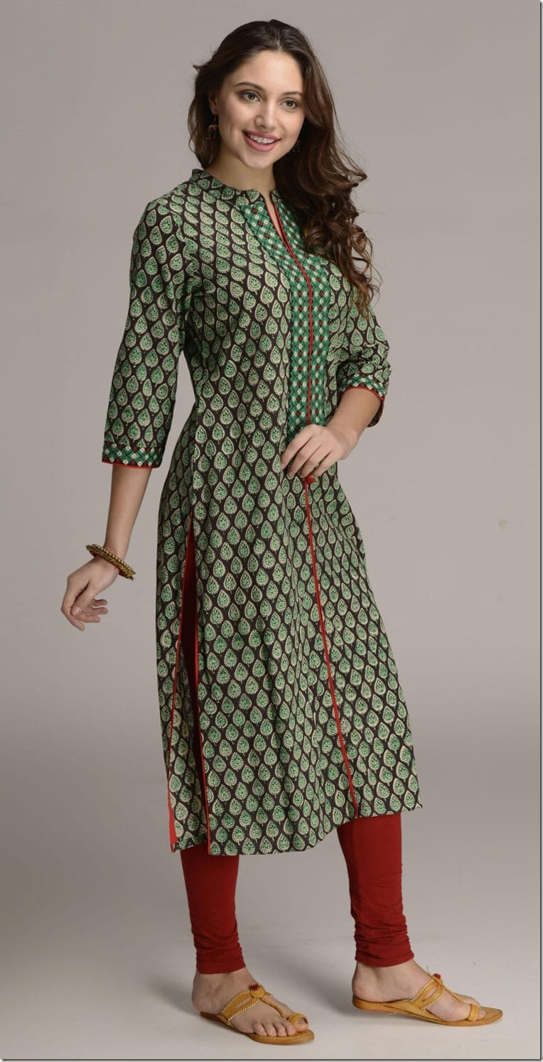 green-paisley-print-long-kurta