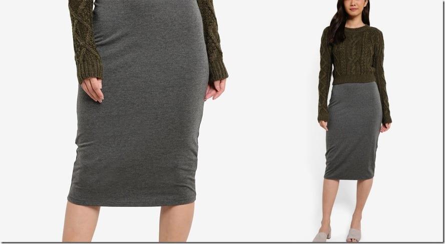grey-basic-bodycon-midi-skirt