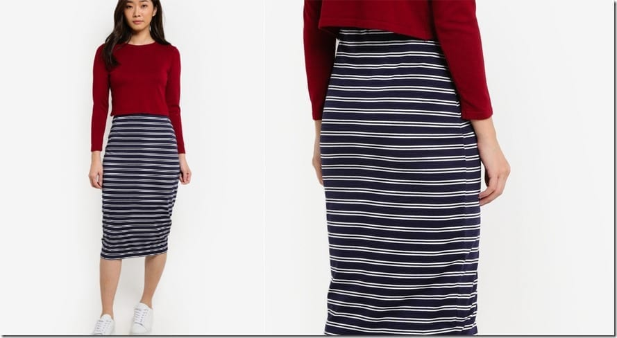 navy-stripe-bodycon-midi-skirt