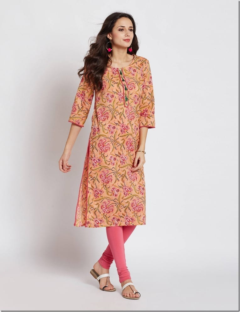 peach-floral-print-long-kurta