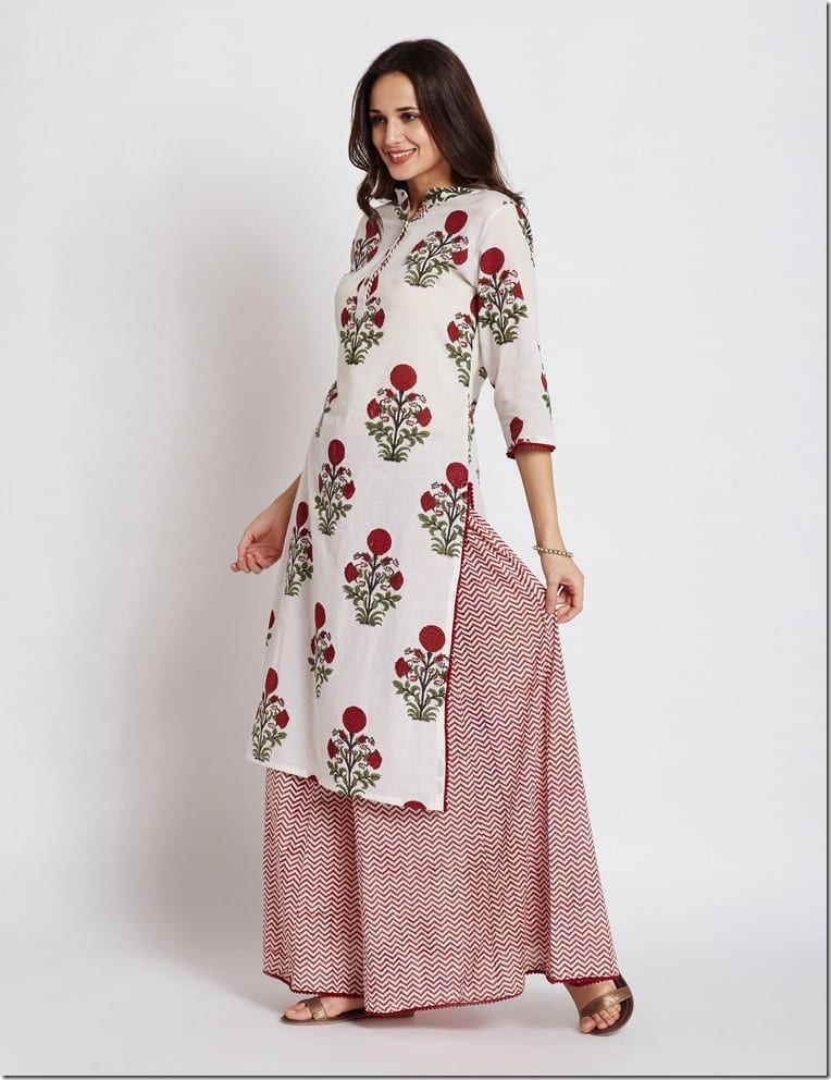 red-floral-print-kurta-skirt-set
