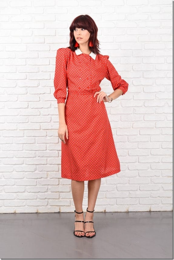 80s-red-geometric-print-puff-sleeve-dress