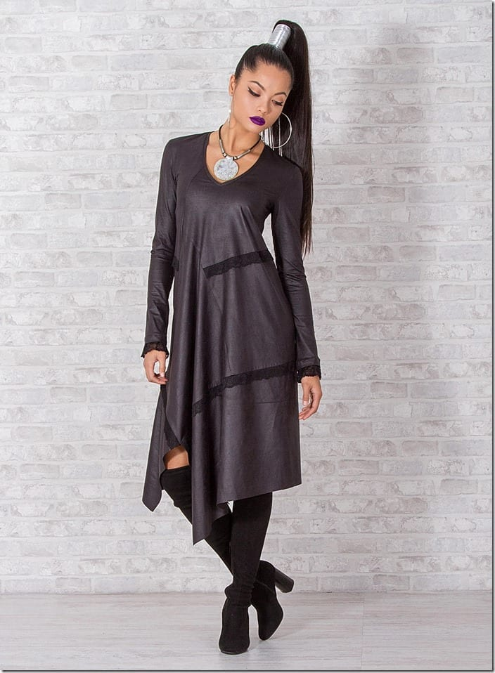 asymmetric-faux-leather-lace-accent-dress