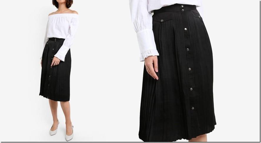black-pleated-button-down-midi-skirt