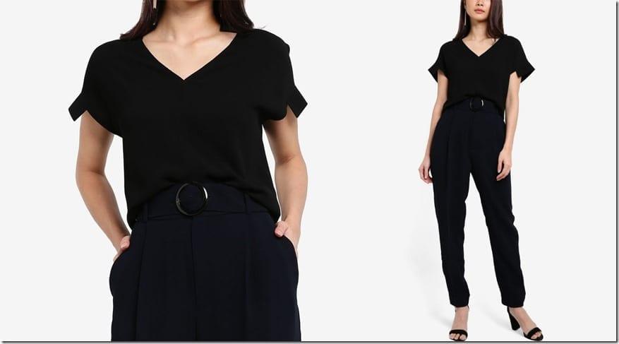 black-v-neck-structured-sleeve-top