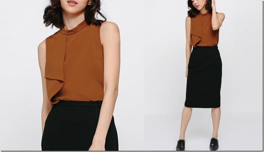 brown-asymmetrical-ruffle-top