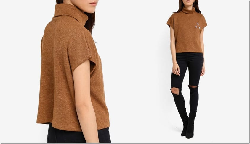 brown-high-neck-drop-shoulder-top