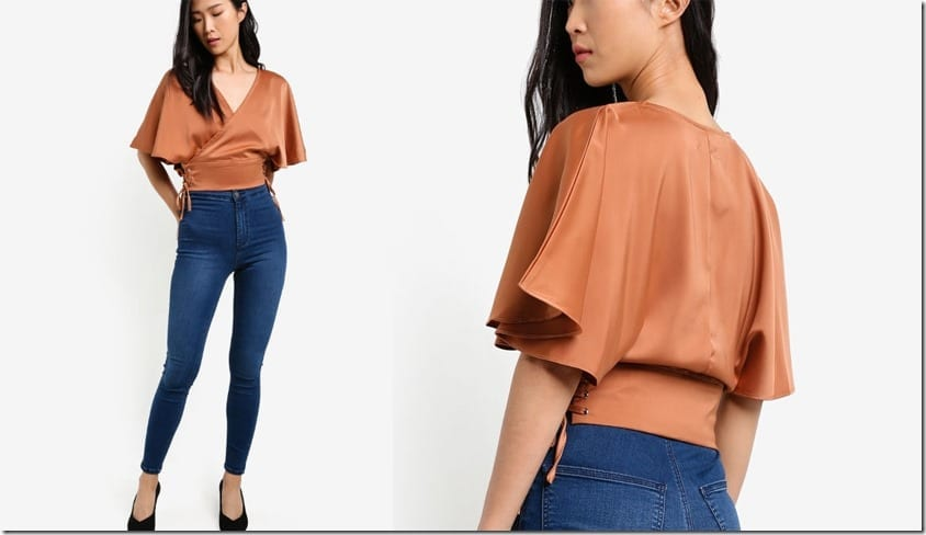 brown-lace-up-wrap-style-top