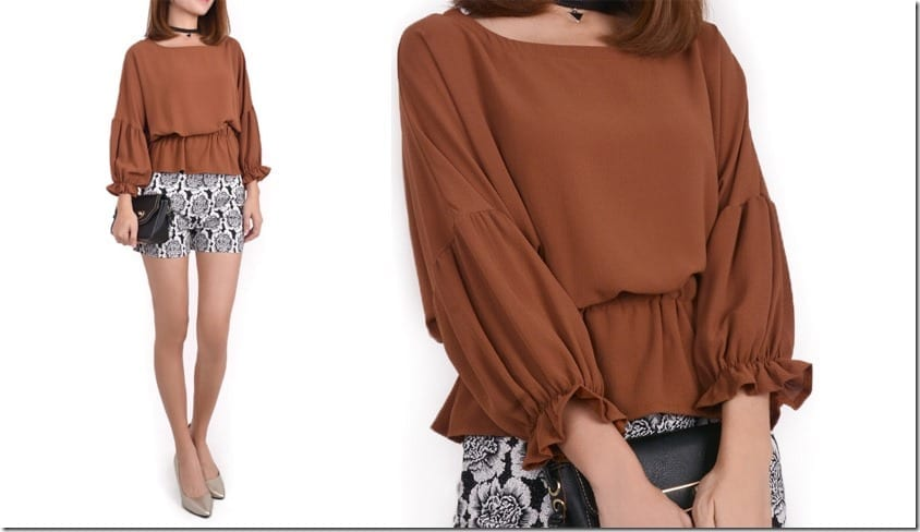 brown-long-ruffle-sleeve-blouse