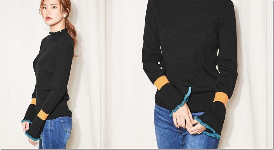 color-block-bell-sleeve-knit-top