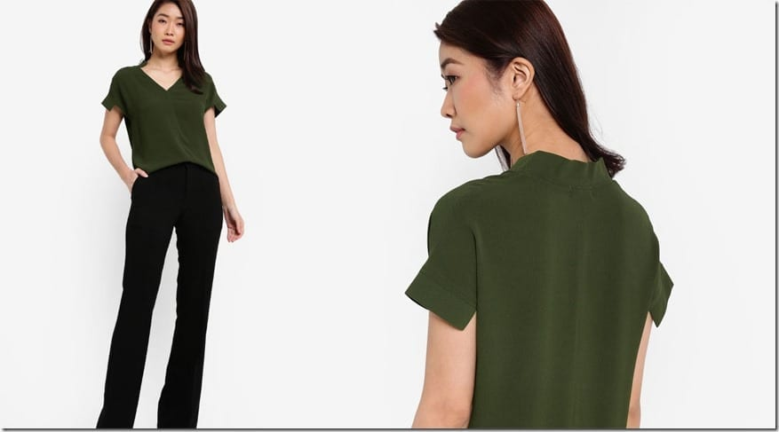 green-v-neck-structured-sleeve-top