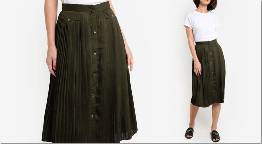 khaki-pleated-button-down-midi-skirt