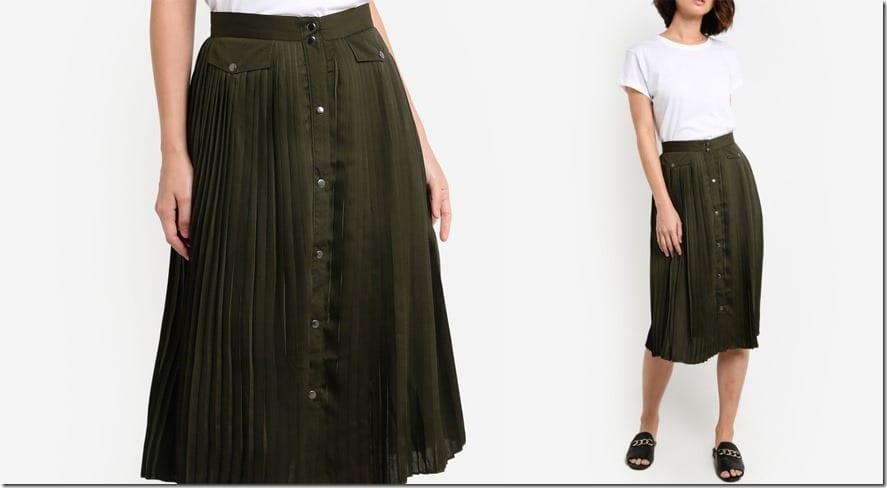 khaki-pleated-button-down-midi-skirt