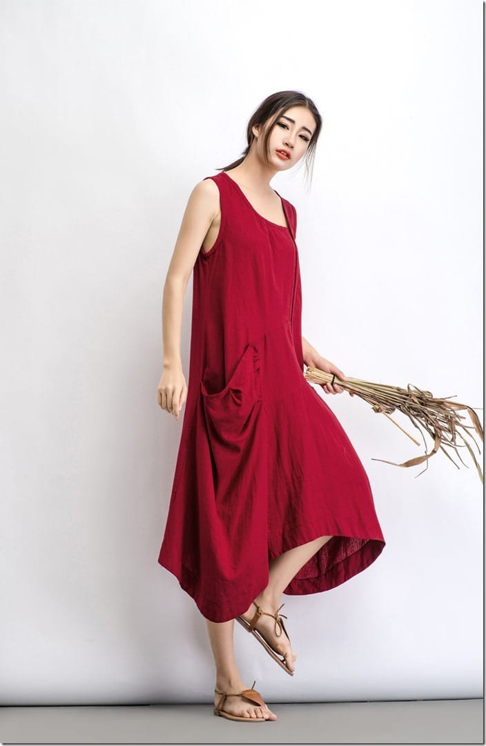 loose-fit-asymmetric-red-linen-dress