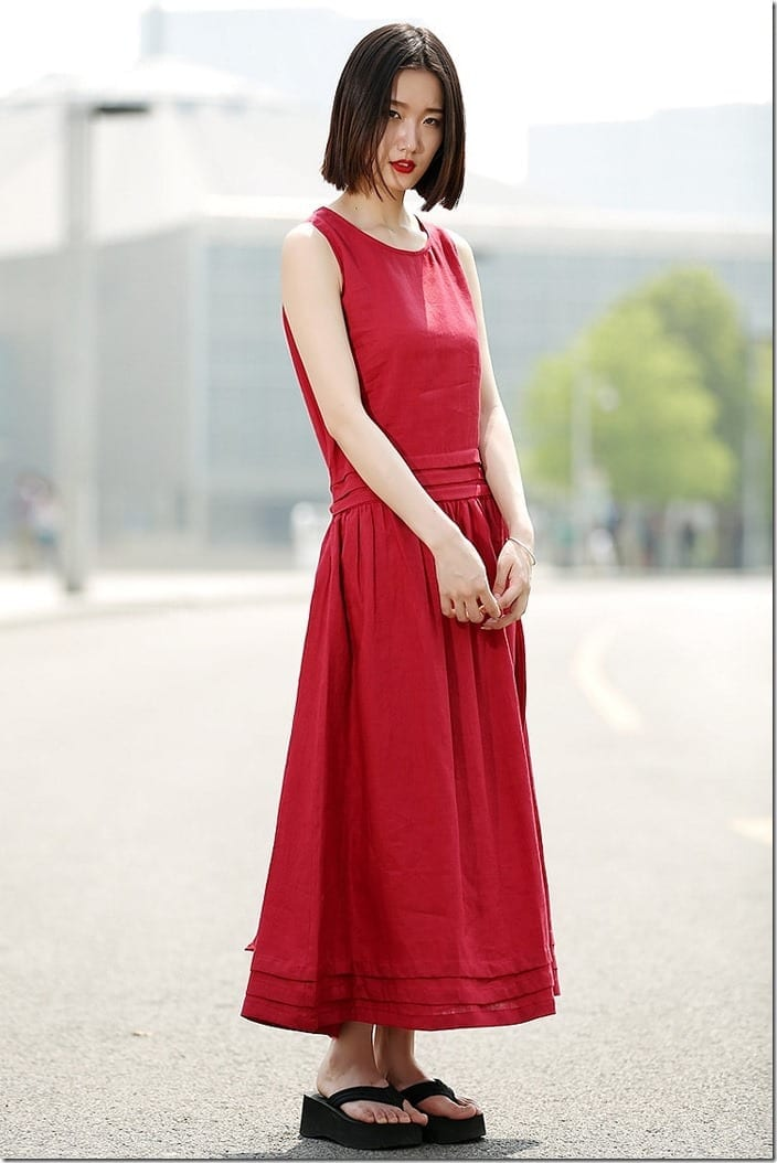 loose-fit-long-red-linen-dress