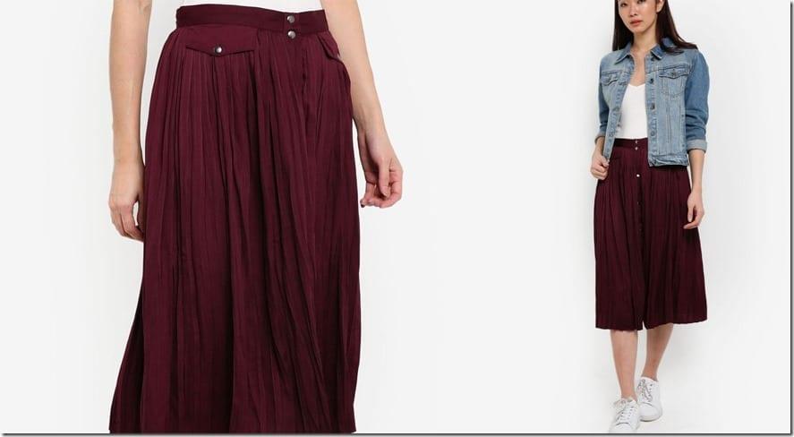 maroon-pleated-button-down-midi-skirt