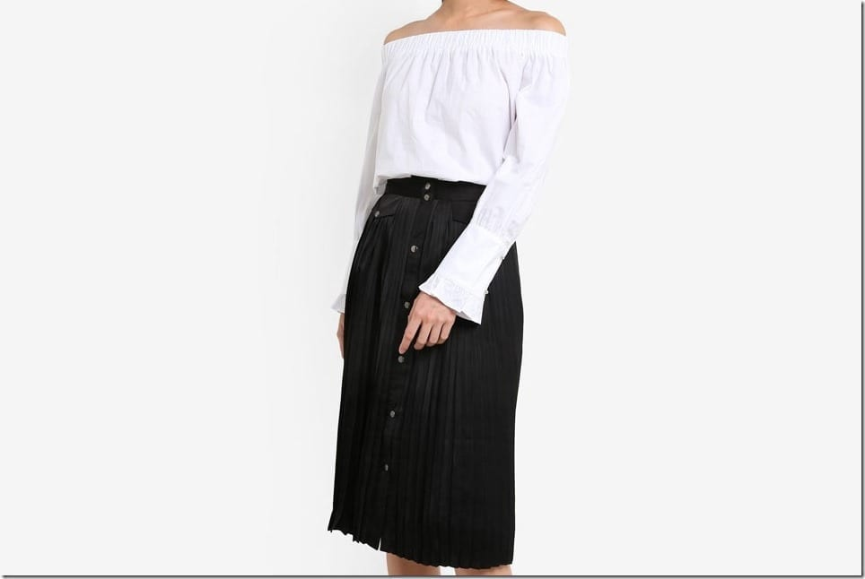 The Pleated Button Down Midi Skirt Style
