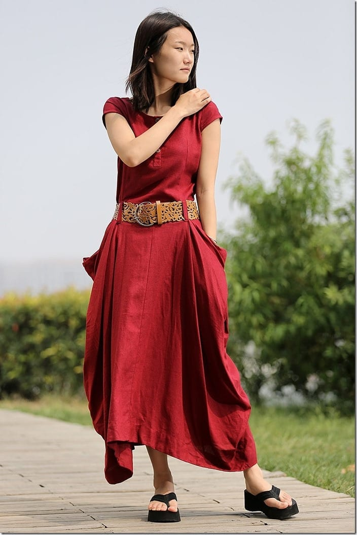 red-asymmetric-fit-and-flare-dress