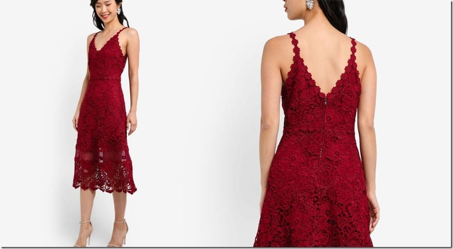 red-crochet-lace-midi-flare-dress