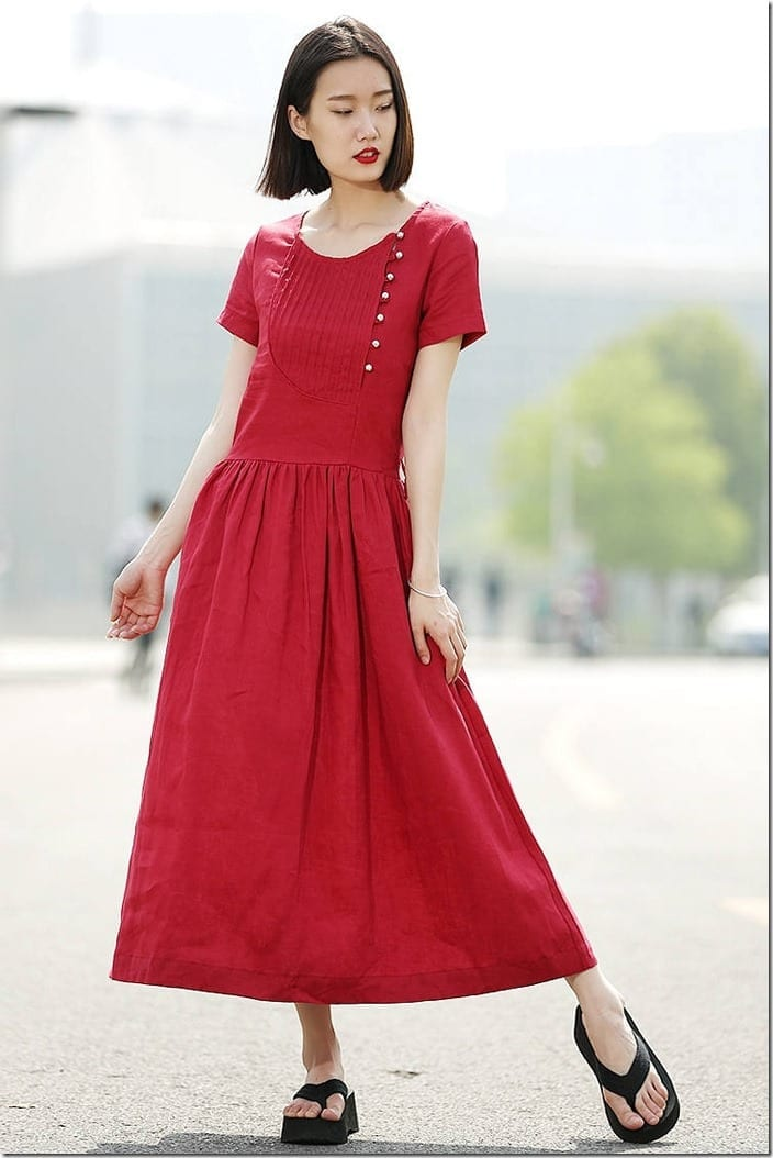red-long-pleated-linen-dress
