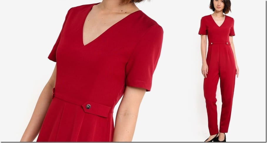 red-short-sleeve-tailored-jumpsuit