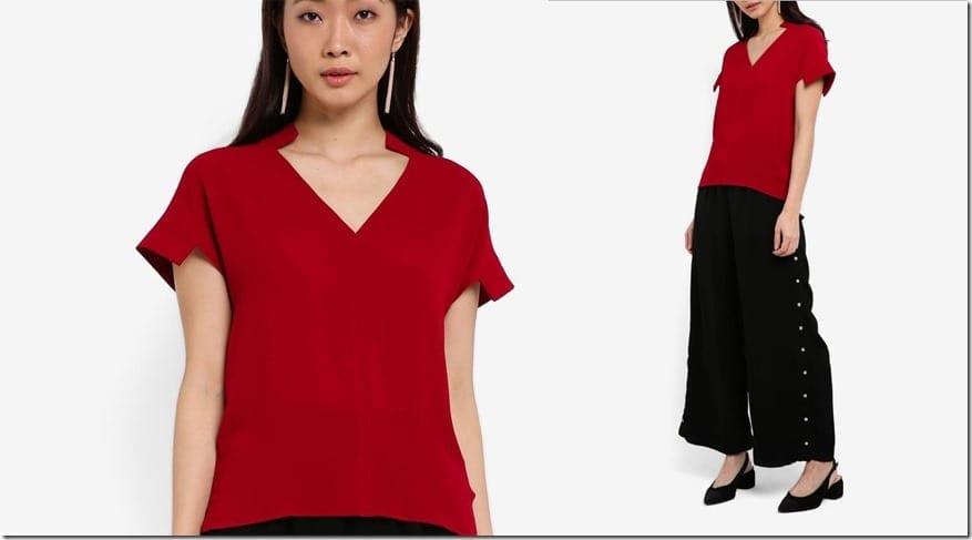 red-v-neck-structured-sleeve-top