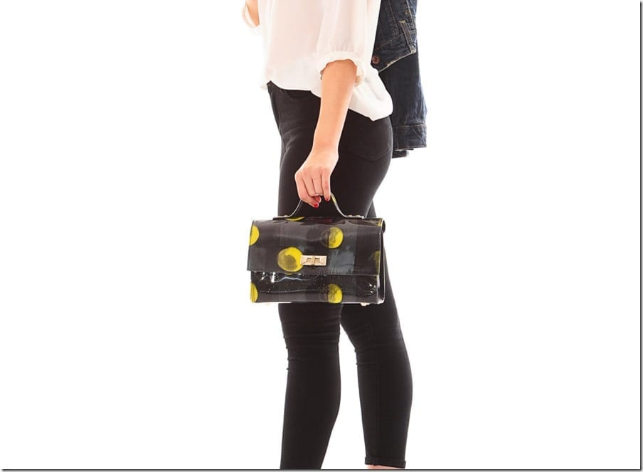 shiny-black-yellow-abstract-handbag