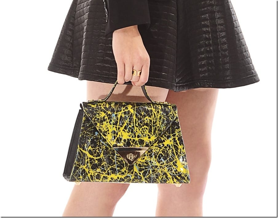 shiny-black-yellow-printed-unique-handbag