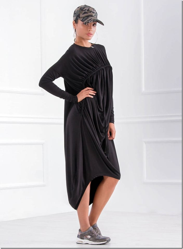 unique-ruched-black-tunic-dress